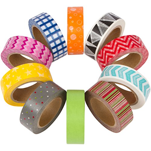 Colorful washi masking tape set of 10 rolls wide for Decorative paper rolls