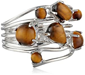 Sterling Silver Tiger Eye Multi-Stone Ring, Size 8