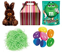 Easter Gift Basket for Adult or Child Dark Chocolate Mint M&M\'s, Chocolate Scented Bunny, 6 Colorful Eggs and Filler Grass In Gift Box