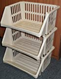 STORAGE BASKETS - 3 TIER - OPEN FRONTED - OATMEAL - 52CM x 38CM x 29CM