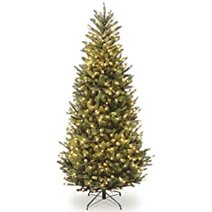 National Tree (NAFFSLH1-75LO) Natural Fraser Slim Fir Hinged Tree with 600 Clear Lights, 7-1/2-Feet