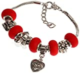 Mother's Daughter's Charm Bracelet with Removable Pandora Compatible Italian Murano Glass Beads for Moms and Daughters in Mate Red, 7
