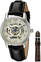 Stuhrling Original Women's 107EL.111531 Classic Delphi Stainless Steel Automatic Skeleton Black Watch