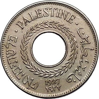 1927 PALESTINE 5 Mils Coin with ENGLISH HEBREW ARABIC Inscription on it i55247