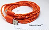CablesFrLess (TM) 10ft Braided High Quality Durable Micro B USB Charging / Data Sync Cable fits Android Phones and Tablets Samsung Galaxy S4 Reverb Note Google Nexus HTC One Kindle Fire HD Touch Acer LG Optimus Pantech Blackberry Motorola RAZR MAXX HD Sony Ericsson ZTE (Orange)