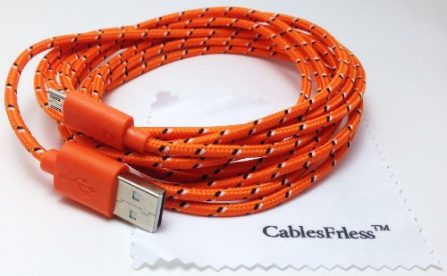 Cablesfrless 6Ft Braided Durable High Quality Micro B Usb Charging / Data Sync Cable Fits Android Devices (Orange)