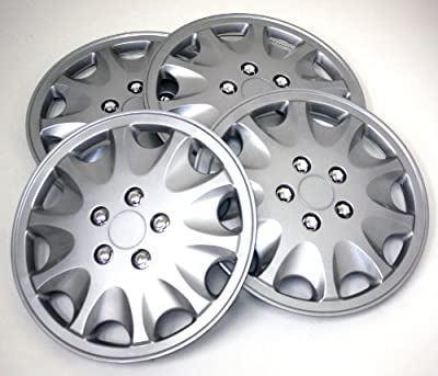 TuningPros WSC-028AS15 Hubcaps Wheel Skin Cover 15-Inches Silver Set of 4