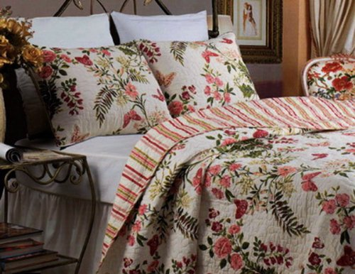 Tropical Print Exotic Floral Bedding Quilt Set Full/Queen