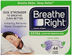 Breathe Right Extra Clear for Sensitive Skin, 44 Count (Pack of 3) , Breathe-igf2