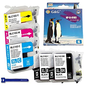 G&G compatible with Brother LC103 Ink Cartridges [XL Series, High Yield] Black, Cyan, Magenta & Yellow Color - 5 Pack - for Brother MFC-J870dw, MFC-J870dw, MFC-J650dw, MFC-J470dw, MFC-J4610dw, MFC-J4510dw, MFC-J4410dw Printers