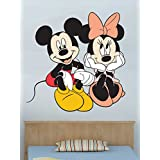 WALLMANTRA Mickey & Minnie Bonding Cartoon Wall Decal : Medium(21x21 Inch)