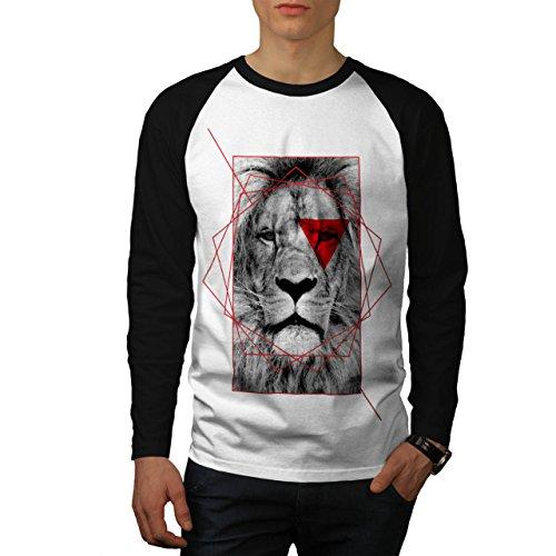 geometrico Leone Reale Rosso Uomo Nuovo Bianca (Maniche Nere) L Baseball manica lunga Maglietta | Wellcoda