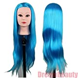 Dreambeauty Cosmetology Styling Head with 28inch Synthetic Fibre Salon Training Head Sky Blue Color
