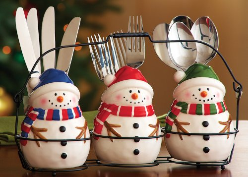 Cute Whimsical Ceramic Snowman Trio Utensil Holder Iron Carrying Rack Holiday & Seasonal Home Decor Red Blue Green Frosty Winter Snow Man Jack Frost Santa Hat Scarf Kitchen Decoration Gift Figurine Holds Knives Forks Spoons