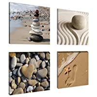 "Picture - art on canvas Wellness 4 x 8 x 8"", four-part parts model no. XXL 6902 Pictures completely framed. Art print Images realised as wall picture on real wooden framework. A canvas picture is much less expensive than an oil painting poster or placard."