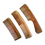 UCS Family Set Of Neem Wood Combs (3 Hair Combs) - Controls Hair Loss, Dandruff & Lice