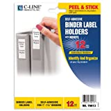 C-Line Self-Adhesive Binder Label Holders for 1.5-Inch Binders, 3/4 x 2-1/2 Inches, 12 per Pack (70013)