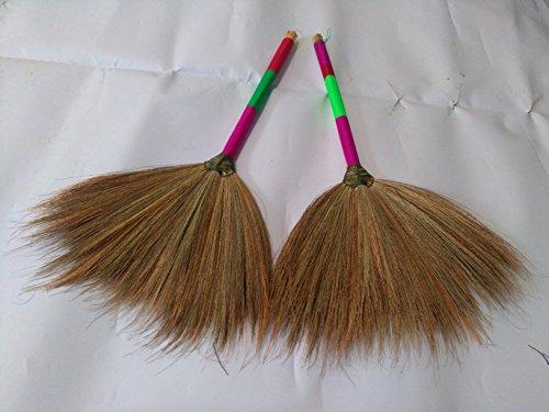 Thai Broom Handmad Straw Grass Broom Soft Handle made of wood 2 PCS (Power Broom Stihl compare prices)