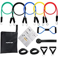 MORECOO Resistance Band 11-Piece Set with Heavy Duty Rubber Resistance Bands