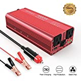 EBTOOLS Car Power Inverter, 1000W/2000W Inverter 12V DC to 110V AC Car Converter with 2 AC Outlets and 2.1A USB port for Laptop, Smartphone, Household Appliances in case Emergency Storm and Outage (Color: Red, Tamaño: 1000W)