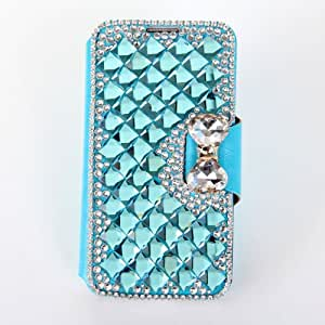 1X Für Samsung Galaxy Note 3 III N9000 Kristall Diamant Leder Strass Bling Tasche Flip Case Glitzer Book Wallet Hülle Cover ID Card Karte Etui mit Bow Tie Fliege Schleife - Blue Blau