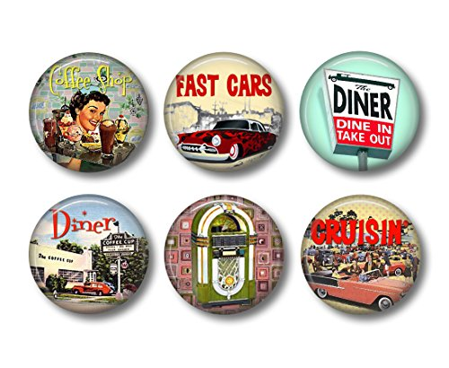 Retro 1950s - Fridge Magnets - Vintage Diner - 6 Magnets - 1.5 Inch Magnets - Cute Fridge Magnets - Retro Kitchen Decor (1950 Refrigerator compare prices)