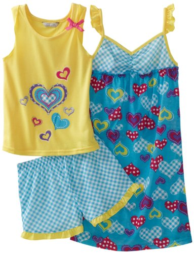 Komar 3pc pj set with gown, shorts and tank
