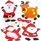 Kits décoration pour Noël avec personnages à coudre et rembourrer de granulés que les enfants pourront fabriquer (Lot de 2)...