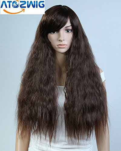 [ATOZHair 3 Color Women Corn Perm Fluffy Long Curly Hair Wig Oblique Bangs Wig] (Perm Wigs)