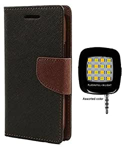 MAX JIO Wallet Flip Case Back Cover For InFocus M2 -Brown With LED Mobile Selfie Flash Light