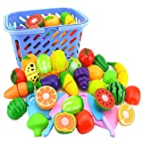 Play Food, WOLFBUSH 23Pcs/Set Plastic Fruit Vegetables Cutting Toy Early Development Education Toy for Baby - Color Random