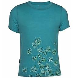 Icebreaker Girl\'s Tech T Lite Scatter T-Shirt, 3-4, Tropic