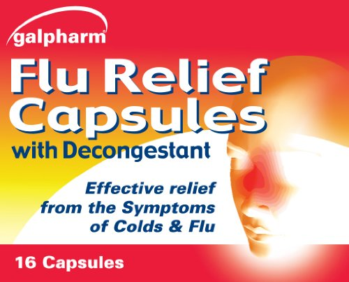 GALPHARM Paracetamol 500mg Colds & Flu Relief Capsules with Decongestant 16's