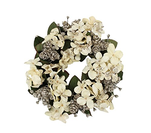 7-inch with 3.25 Inner Ring Artifical Hydrangea, Mini Pinecone & Gypso Candle Ring Candlering Champagne Color