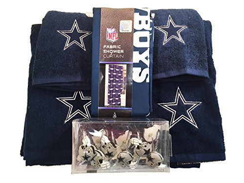 Nfl dallas cowboys 6pc bathroom accessories set home for Blue and silver bathroom sets