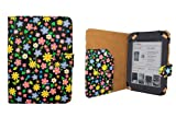 CaseGuru Floral Daisy Dusky Night Wallet Case Cover with Magnetic Snap Closure and Document Sleeve Holder for Barnes and Noble Nook Simple Touch eBook Reader / Nook Simple Touch GlowLight