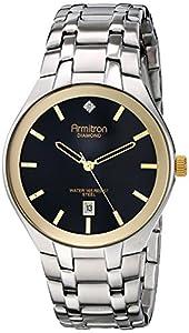 Armitron Men's 20/4999BKTT Diamond-Accented Date Function Dial Silver-Tone Bracelet Watch