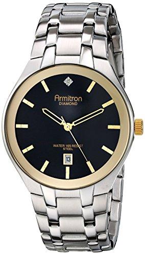 Para hombre Armitron 20/4999bktt esfera de diamante-mujer con función de fecha plateado-tono reloj de pulsera