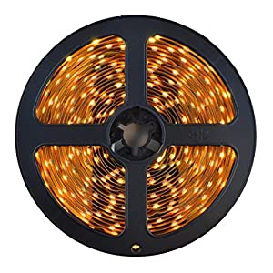 HitLights Warm White SMD3528 LED Light Strip - 300 LEDs, 16.4 Ft Roll, Cut to length - 3000K, 72 Lumens per foot, Requires 12V DC