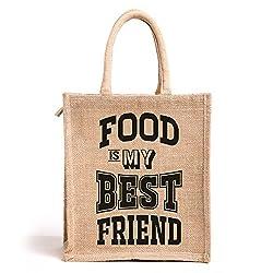 Food is my best friend, Jute lunch bag, Medium Size, Height:11in, Lenght: 9in, Width: 5.5in