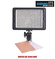 Digitek Professional Photo Video Light LED D-204, Dimmer Control, Filters w Magnetic Pick-up, DSLR Camera Mount w 6600mAh Battery & Charger ( GizmoGrid )