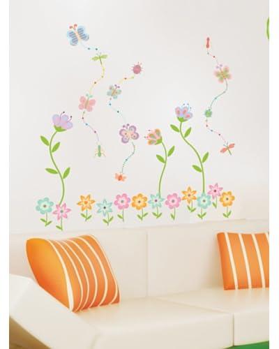 Ambiance Live Wall Decal Flower Garden Butterfly veelkleurige