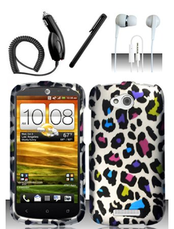 4 Items Combo For Htc One Vx (At&T) Colorful Leopard 2D Design Snap On Hard Case Protector Cover + Car Charger + Free Stylus Pen + Free 3.5Mm Stereo Earphone Headsets