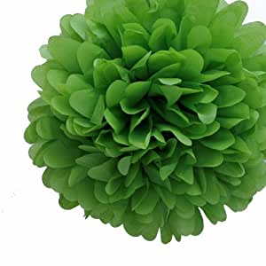 Dress My Cupcake 5-Inch Leaf Green Tissue Paper Pom Poms, Coordinate with Wedding Invitations/Favors and Outdoor Decorations, Set of 8