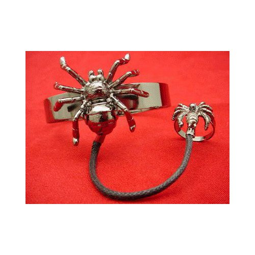 Gunmetal Spider Bracelet and Ring Halloween Accessory
