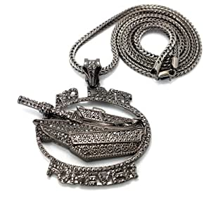 No Limit Forever Records Iced Out Pendant in Hematite w ...
