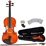 ADM 1/10 Half Size Handcrafted Solid Wood Student Violin with Starter Kits, Traditional Red Brown Lacquer Finish
