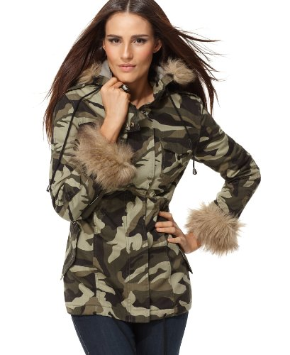 Camouflage Dress Mate: Faux Fur Trim Camouflage Hooded Jacket