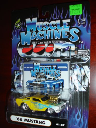 Muscle Machines 66 Mustang Yellow w/Blue and White Flames - 1