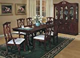 7pc Traditional Chippendale Style Wood Dining Table & Chair Set